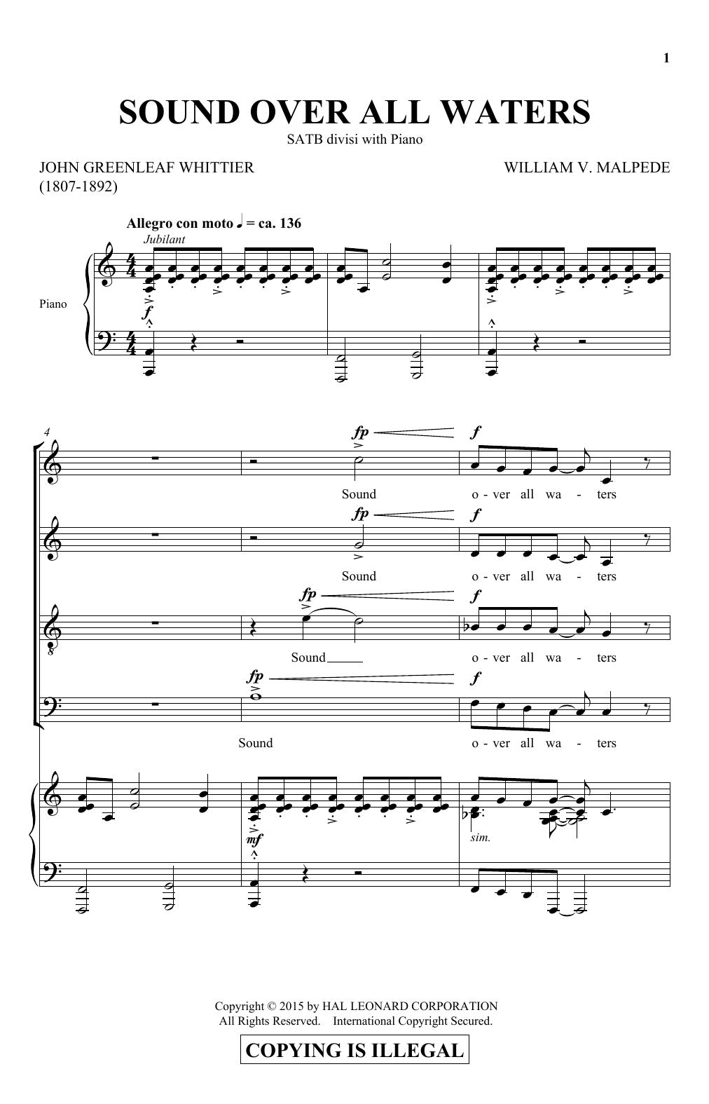 Partition chorale Sound Over All Waters de John Greenleaf Whittier - SATB