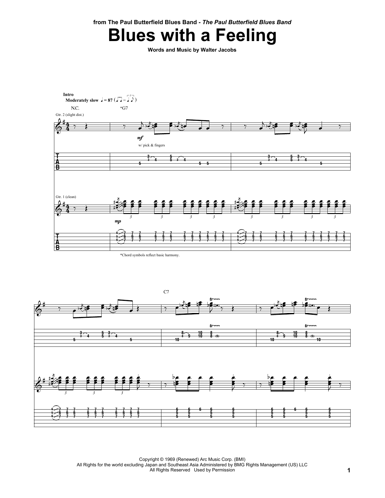 Tablature guitare Blues With A Feeling de The Paul Butterfield Blues Band - Tablature Guitare