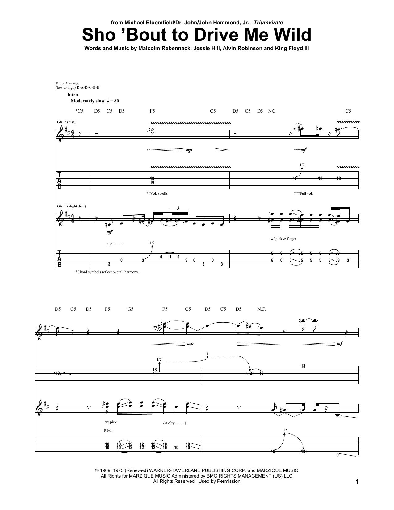 Tablature guitare Sho 'Bout To Drive Me Wild de Michael Bloomfield - Tablature Guitare