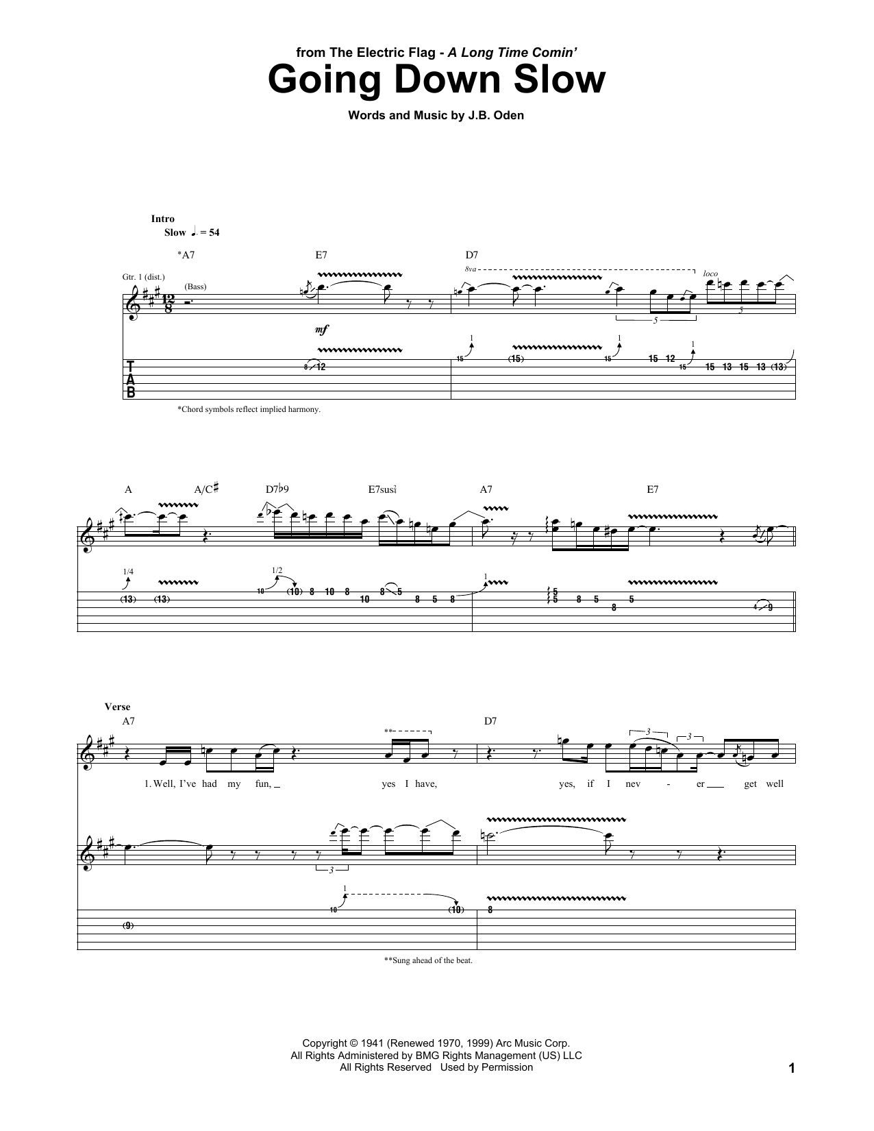 Tablature guitare Going Down Slow de The Electric Flag - Tablature Guitare