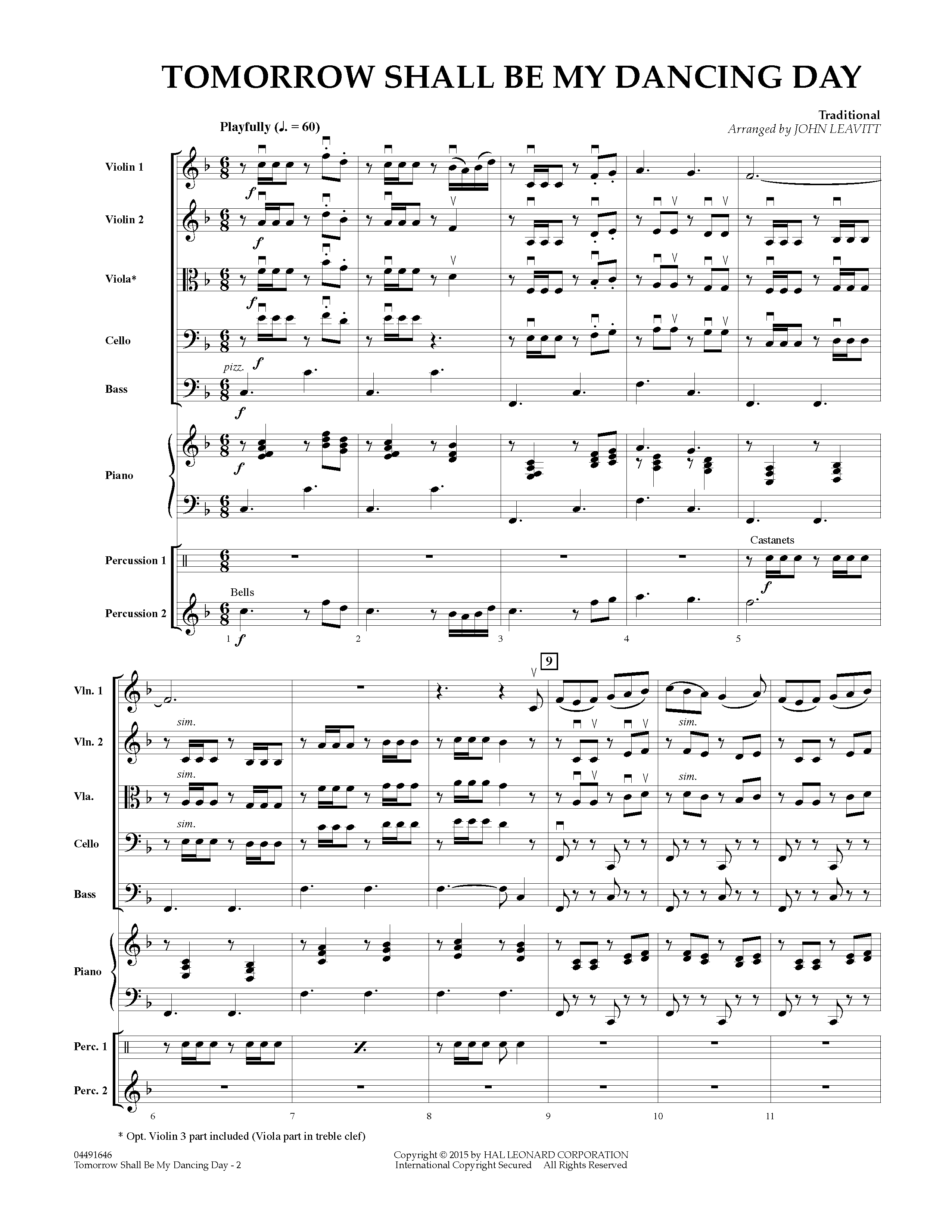 Tomorrow Shall Be My Dancing Day (COMPLETE) sheet music for orchestra by John Leavitt