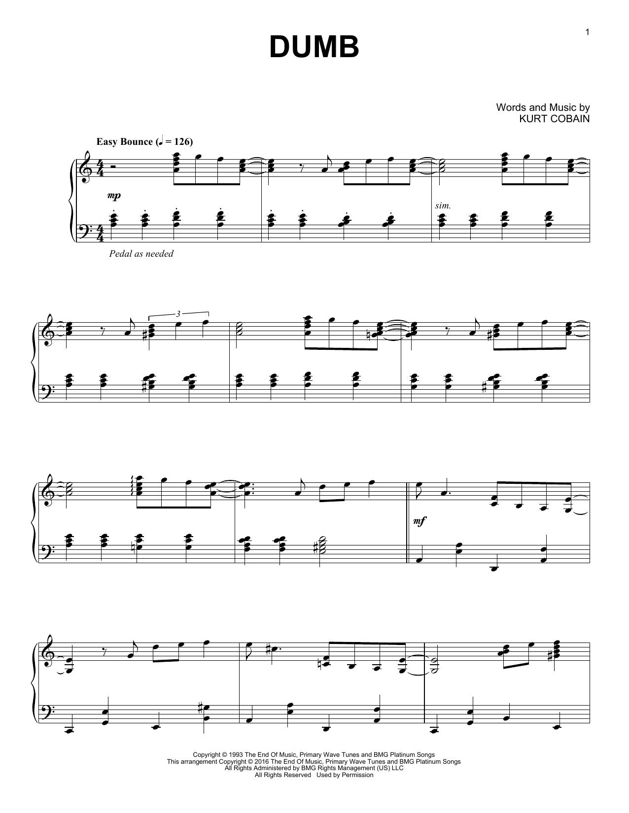 Partition piano Dumb de Nirvana - Piano Solo