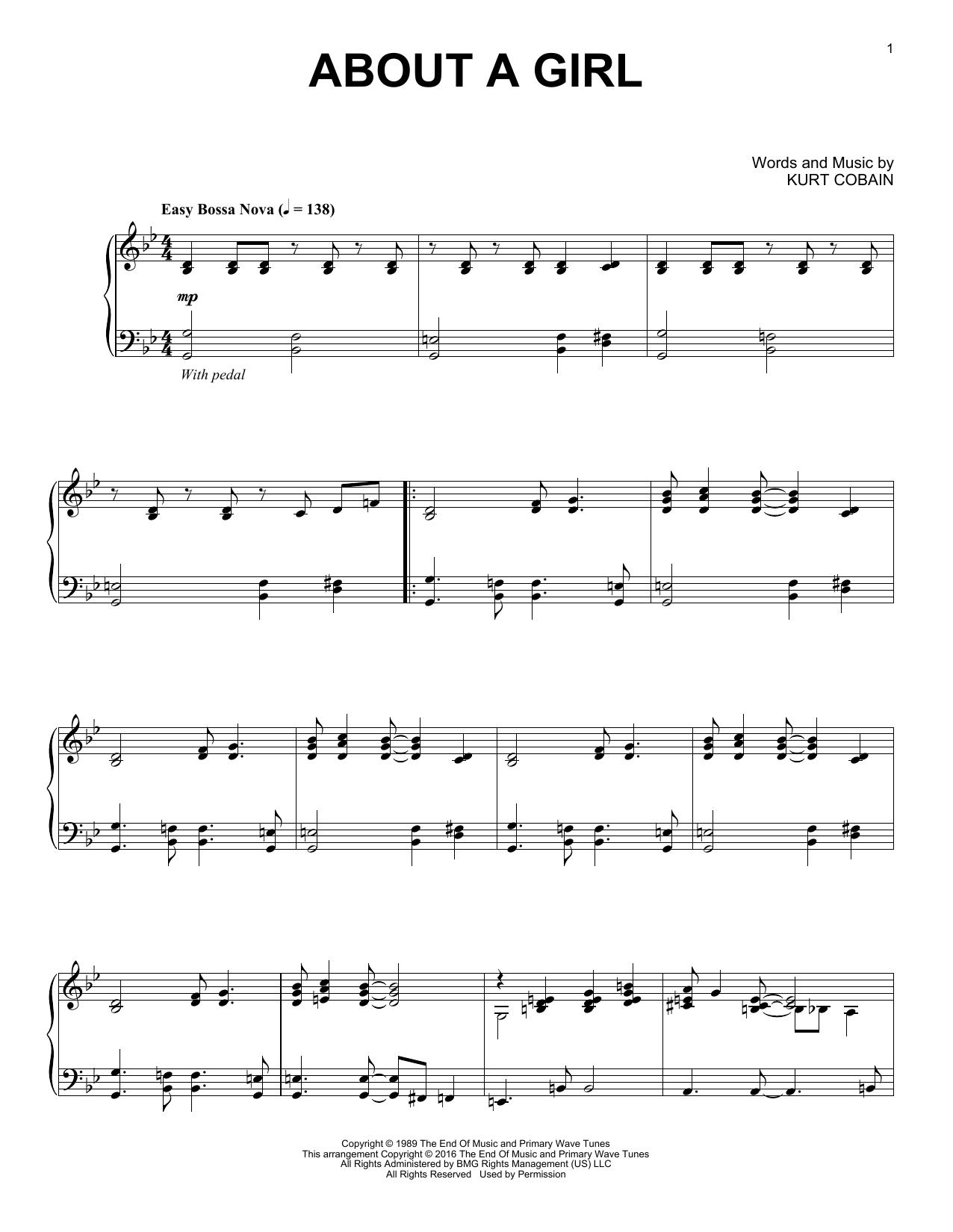 Partition piano About A Girl de Nirvana - Piano Solo