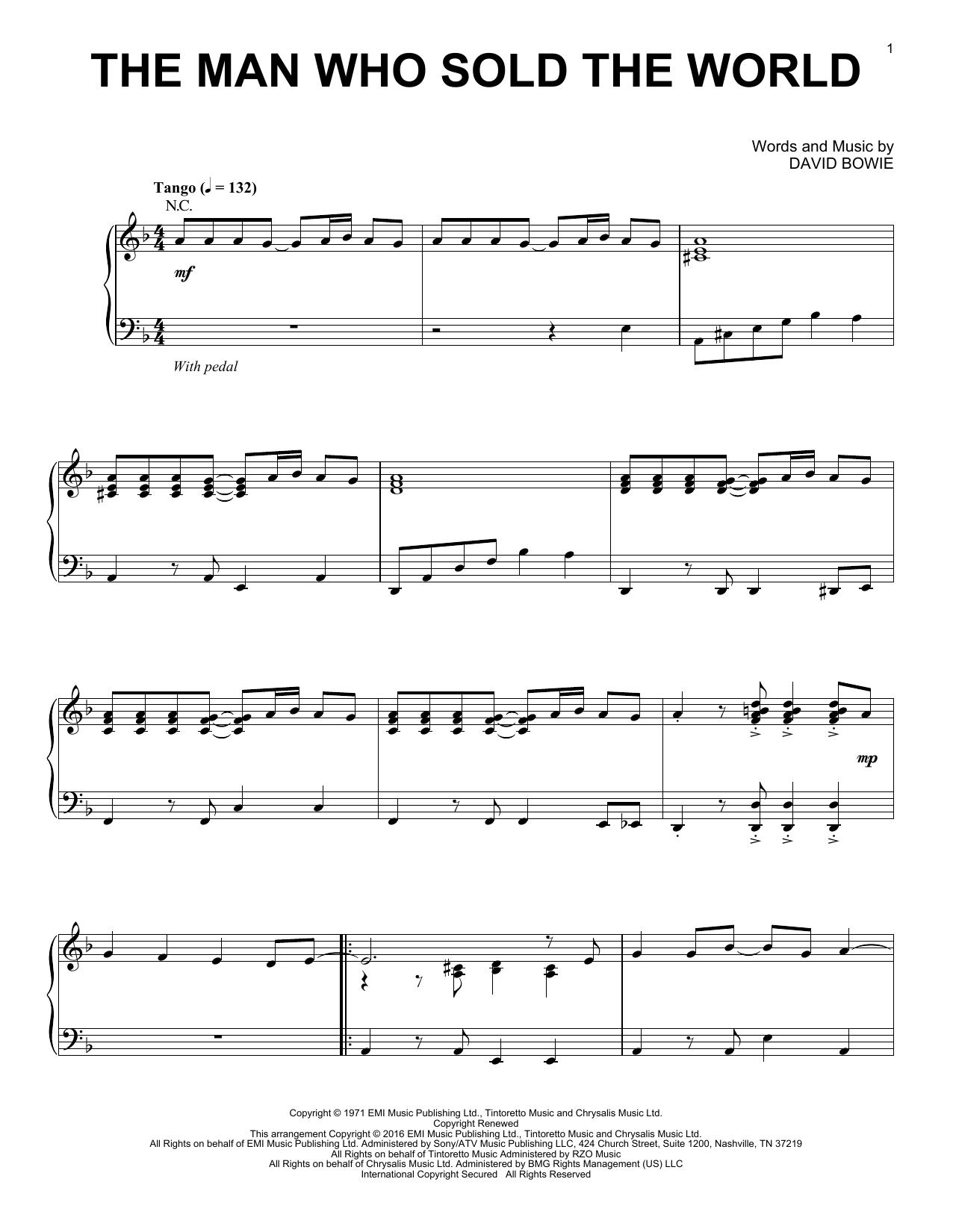Partition piano The Man Who Sold The World de Nirvana - Piano Solo