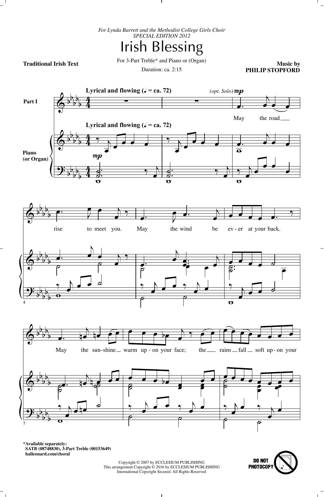 Partition chorale Irish Blessing de Philip Stopford - 3 voix egales