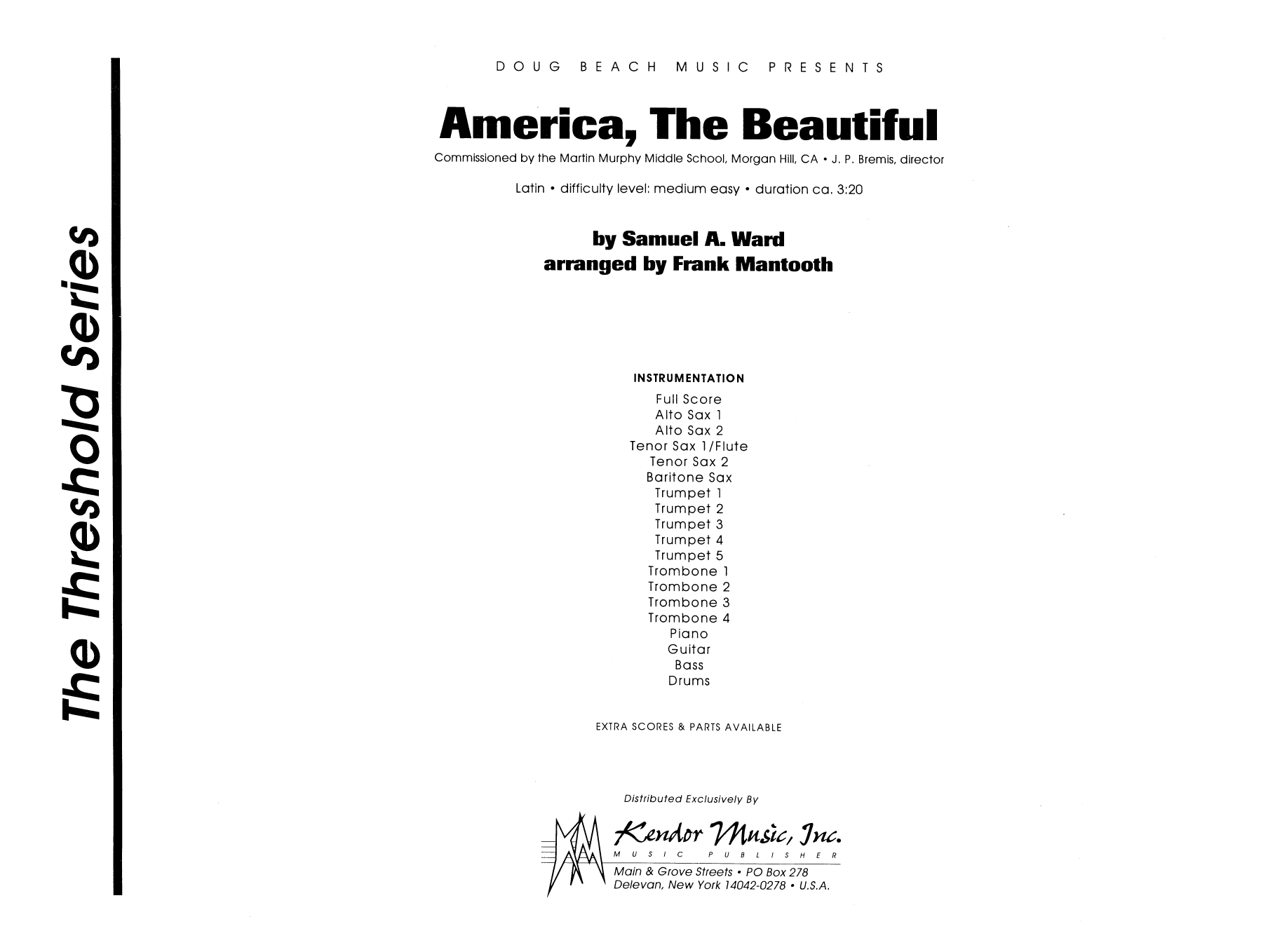 America, the Beautiful (COMPLETE) sheet music for jazz band by Ward