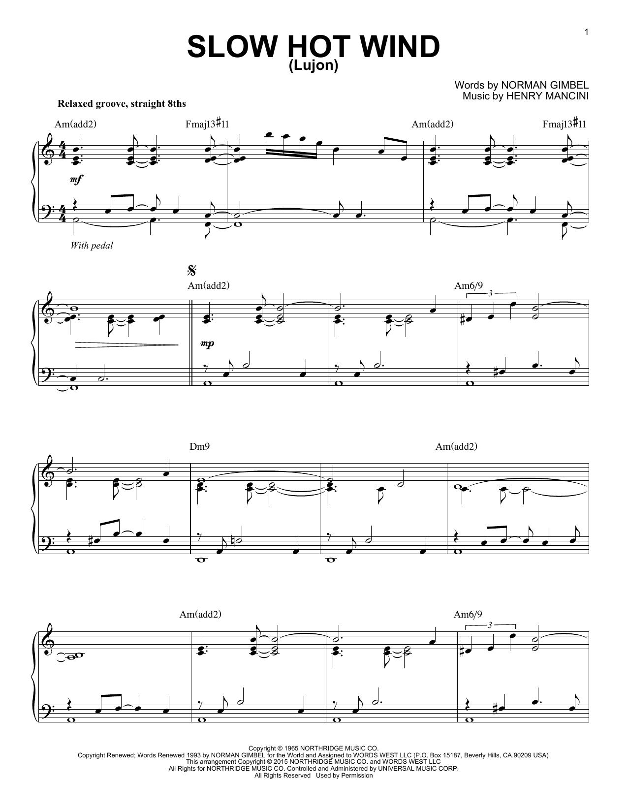 Partition piano Slow Hot Wind (Lujon) de Henry Mancini - Piano Solo