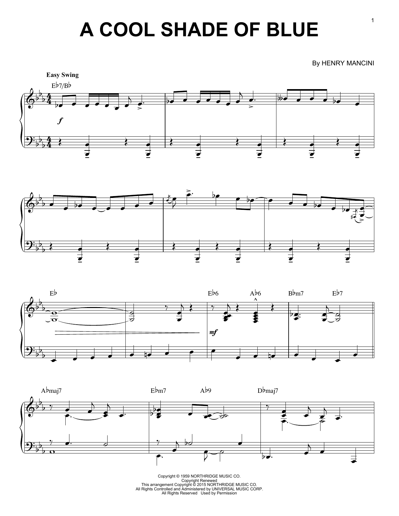 Partition piano A Cool Shade Of Blue de Henry Mancini - Piano Solo