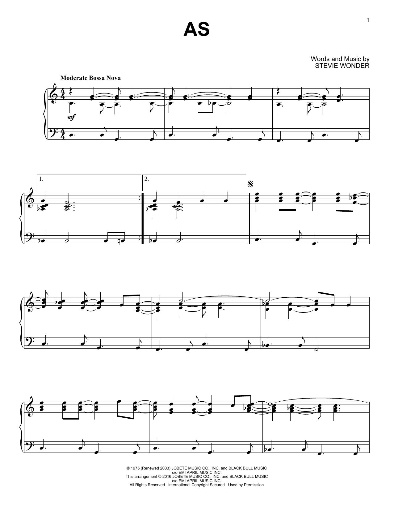 Partition piano As de Stevie Wonder - Piano Solo