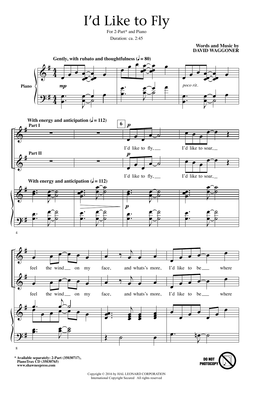 Partition chorale I'd Like To Fly de David Waggoner - 2 voix