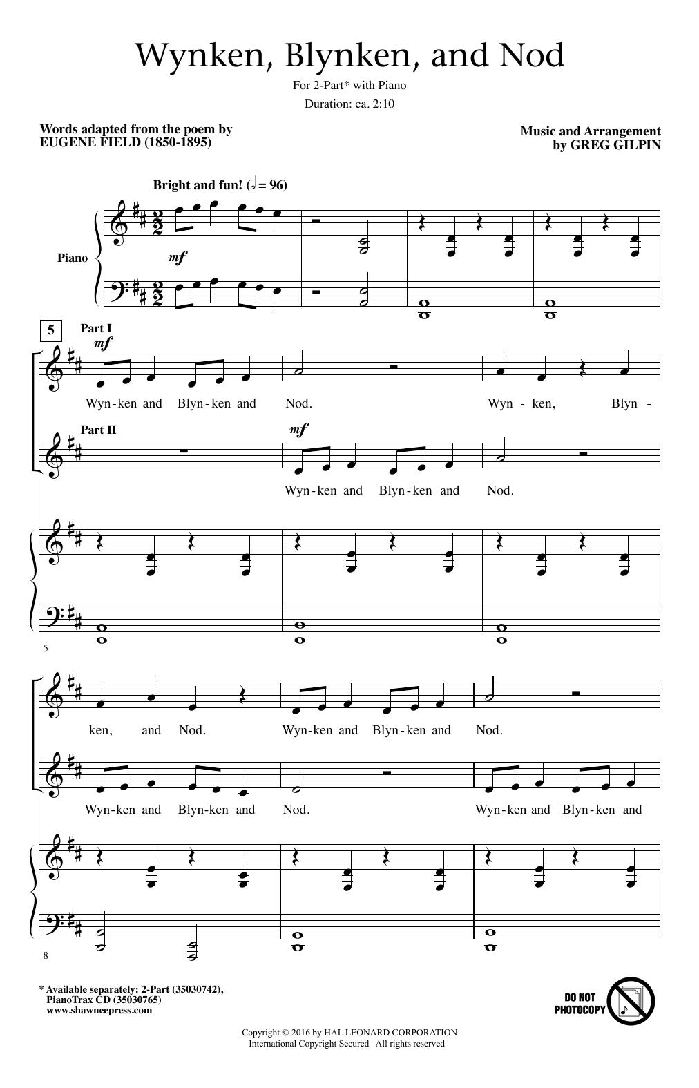 Partition chorale Wynken, Blynken, And Nod de Eugene Field - 2 voix