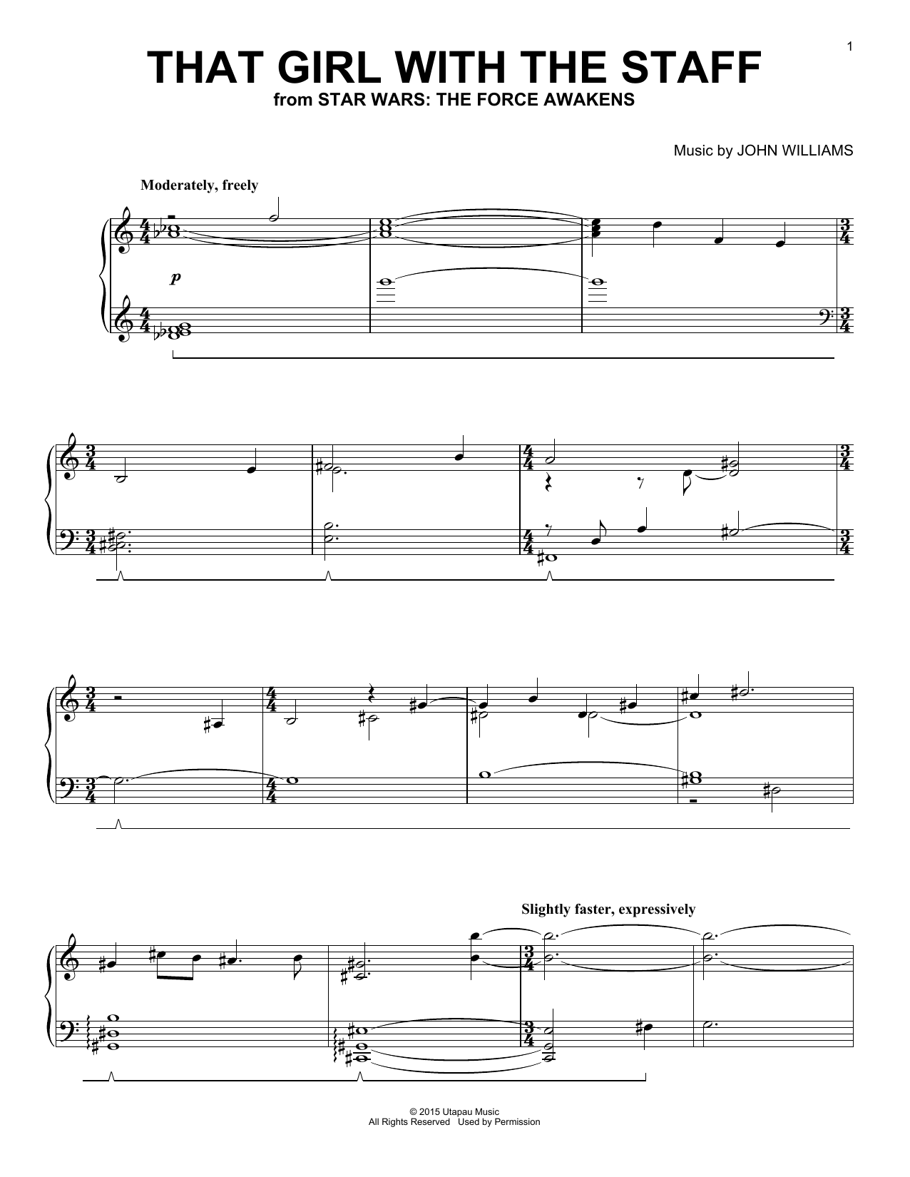 Partition piano That Girl With The Staff de John Williams - Piano Solo