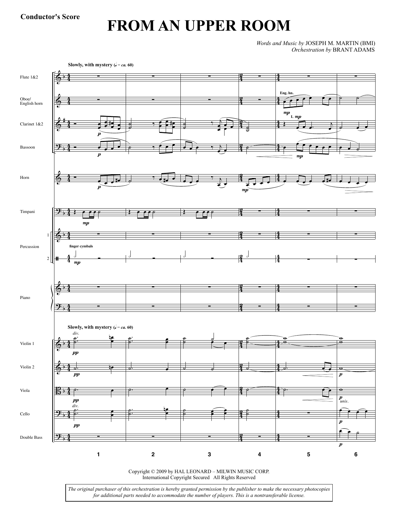 From An Upper Room (from Lenten Sketches) (COMPLETE) sheet music for orchestra/band by Joseph M. Martin