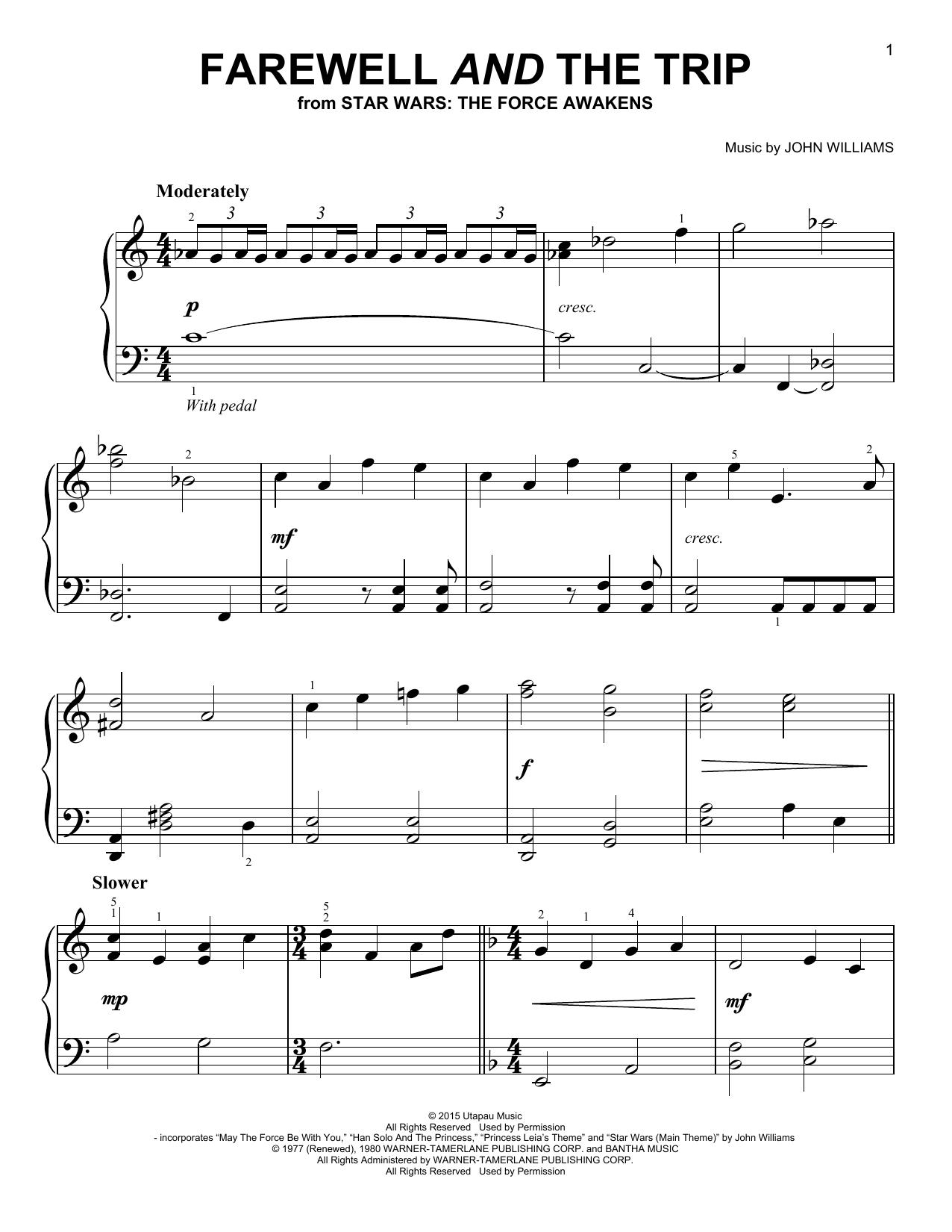 Partition piano Farewell And The Trip de John Williams - Piano Facile