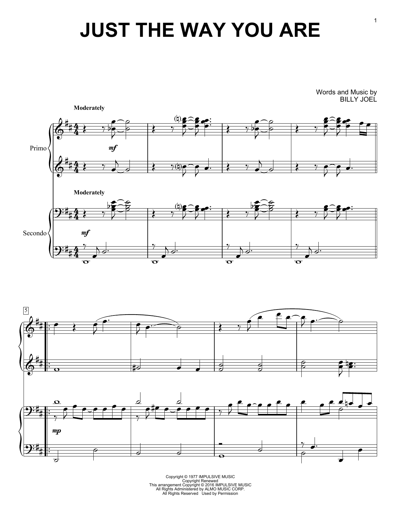 Partition piano Just The Way You Are de Billy Joel - 4 mains