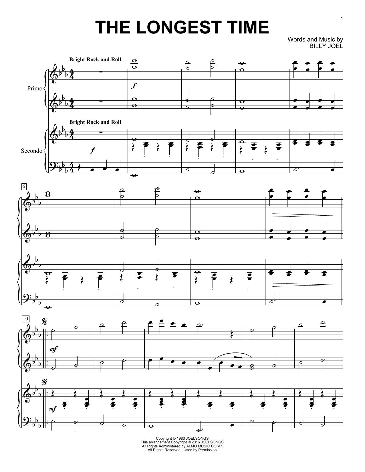 Partition piano The Longest Time de Billy Joel - 4 mains