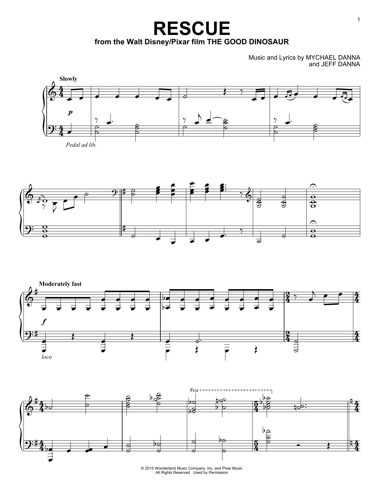 Partition piano Rescue de Mychael & Jeff Danna - Piano Solo