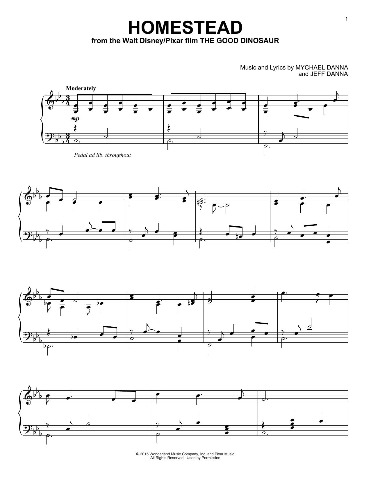 Partition piano Homestead de Mychael & Jeff Danna - Piano Solo