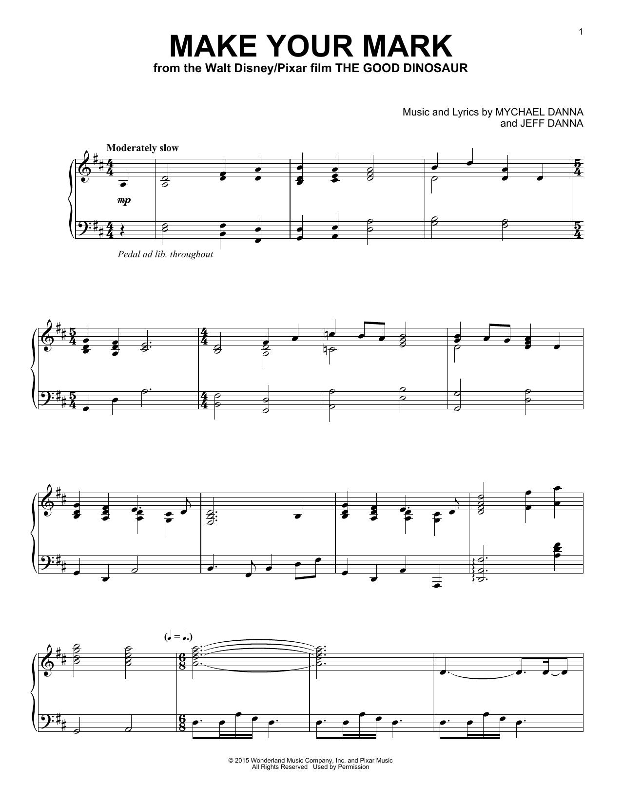 Partition piano Make Your Mark de Mychael & Jeff Danna - Piano Solo