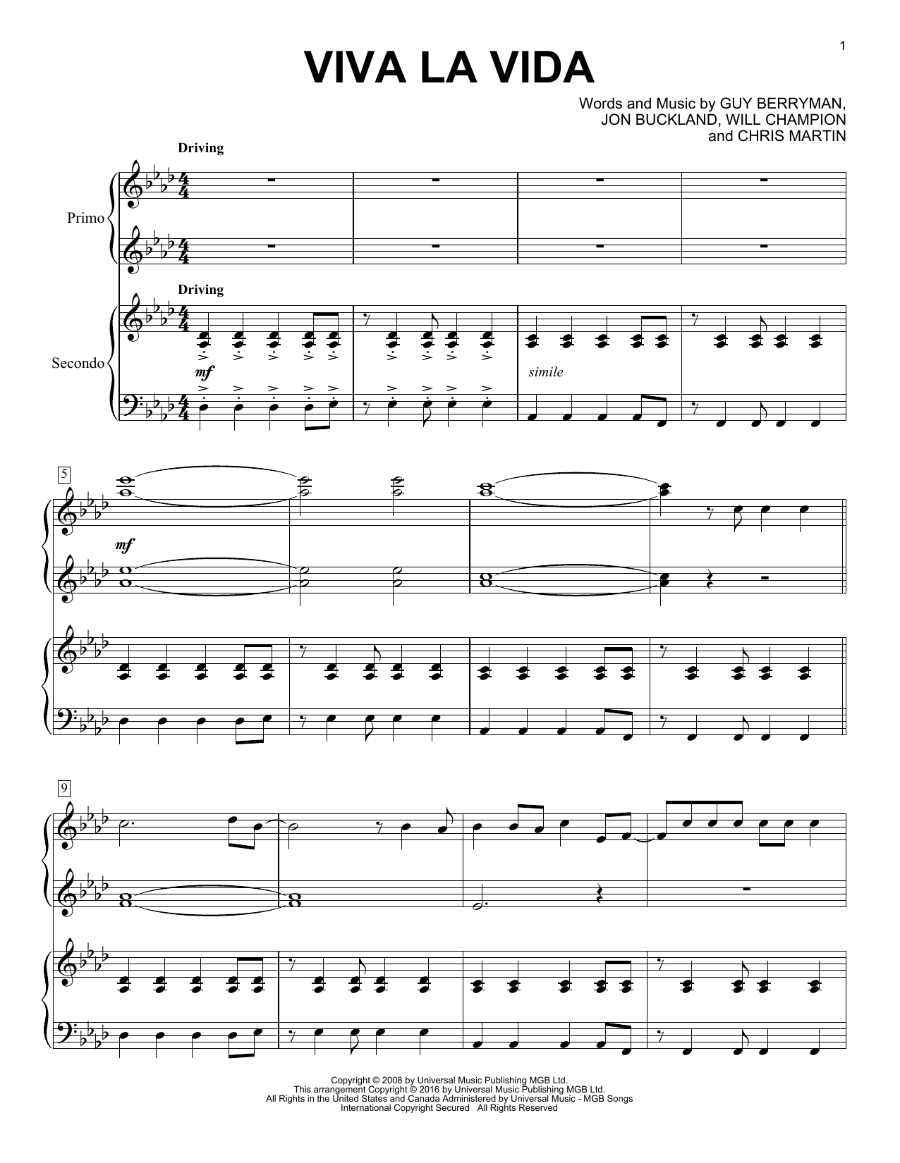 Partition piano Viva La Vida de Coldplay - 4 mains