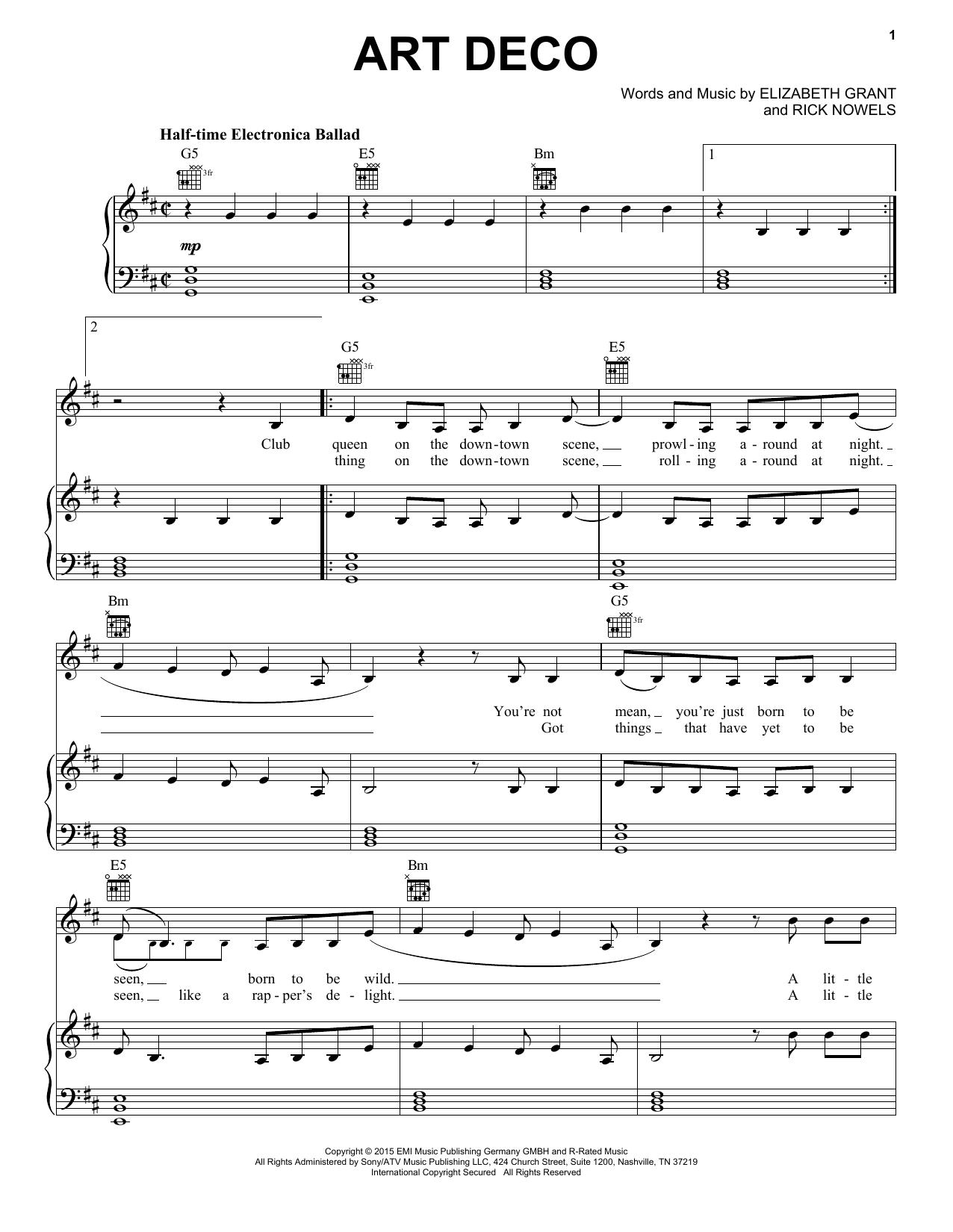 Partition piano Art Deco de Lana Del Rey - Piano Voix Guitare (Mélodie Main Droite)