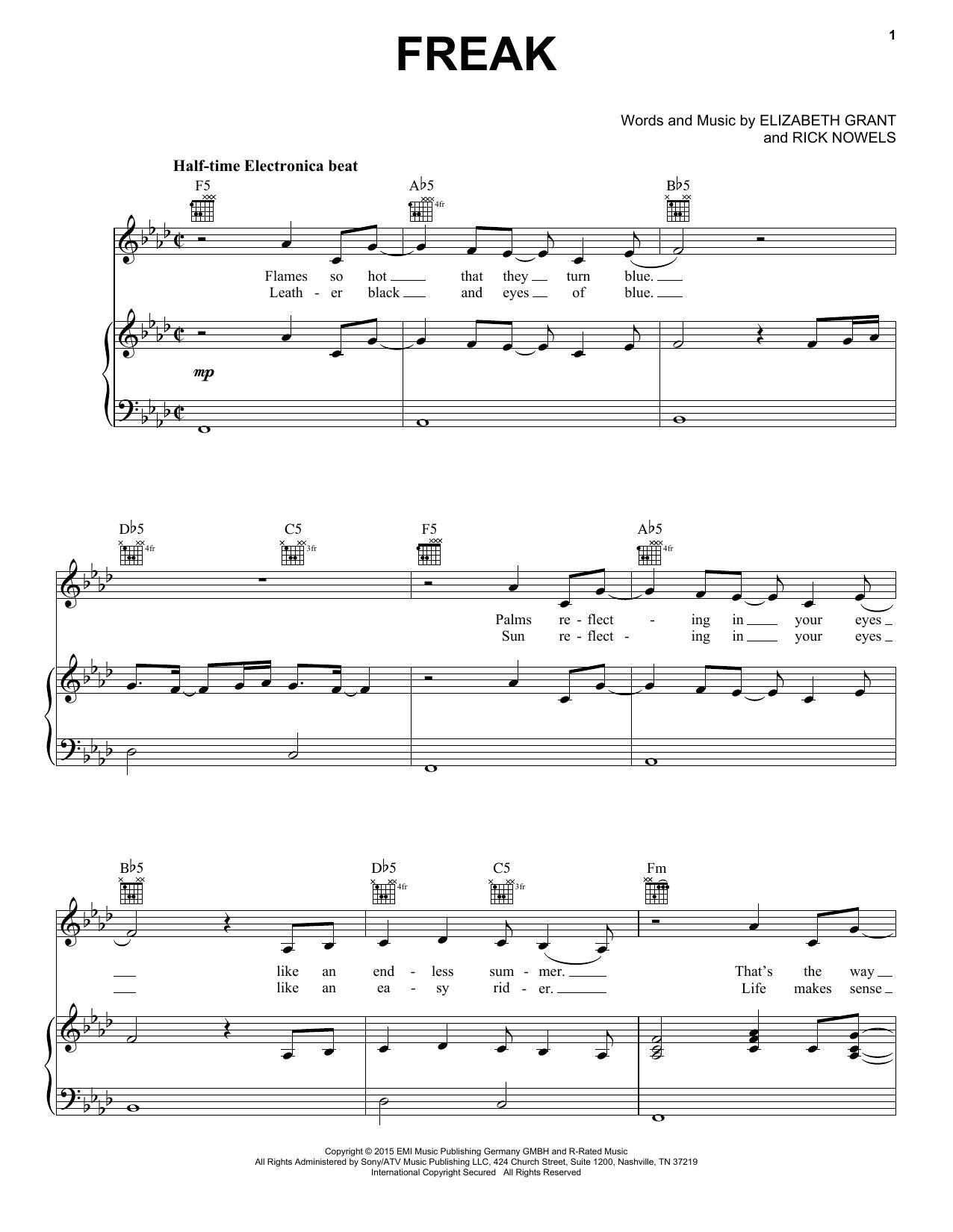 Partition piano Freak de Lana Del Rey - Piano Voix Guitare (Mélodie Main Droite)