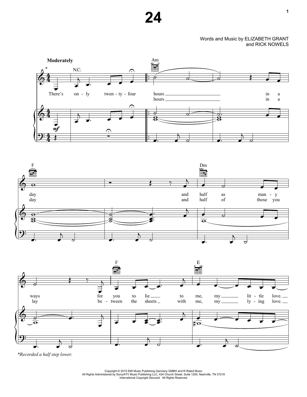 Partition piano 24 de Lana Del Rey - Piano Voix Guitare (Mélodie Main Droite)