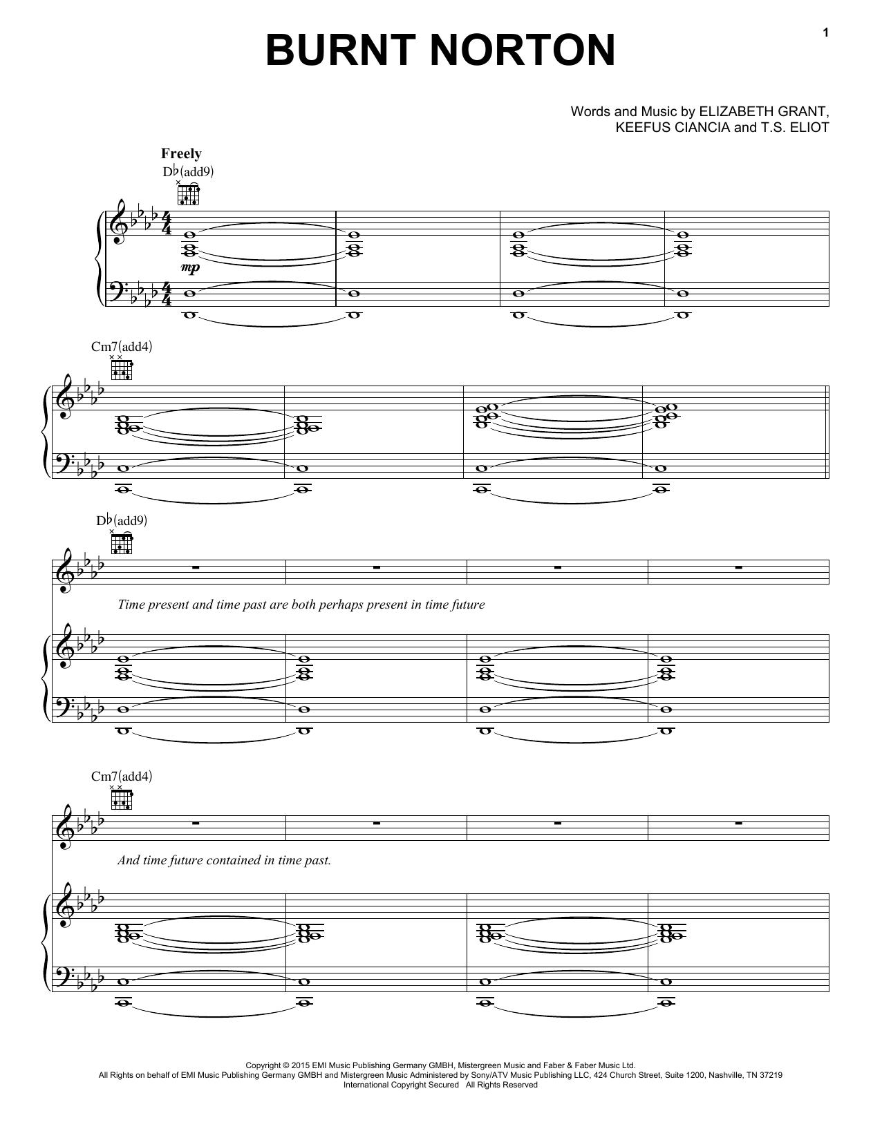 Partition piano Burnt Norton de Lana Del Rey - Piano Voix Guitare (Mélodie Main Droite)
