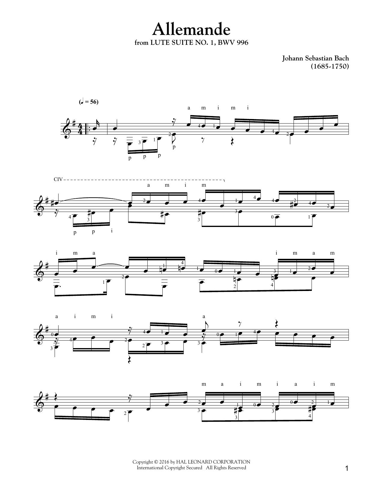 Tablature guitare Allemande de Johann Sebastian Bach - Tablature Guitare