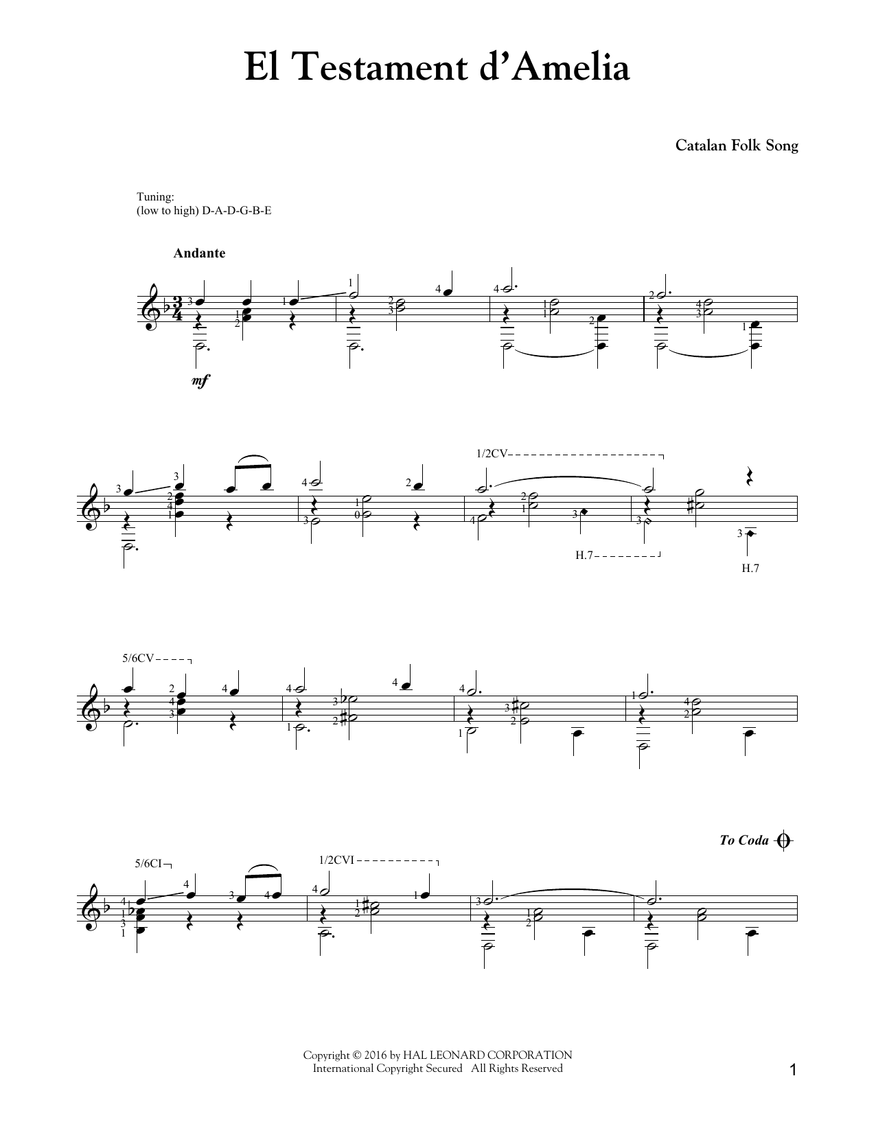 Tablature guitare El Testament D'Amelia de J.S. Bach - Tablature Guitare