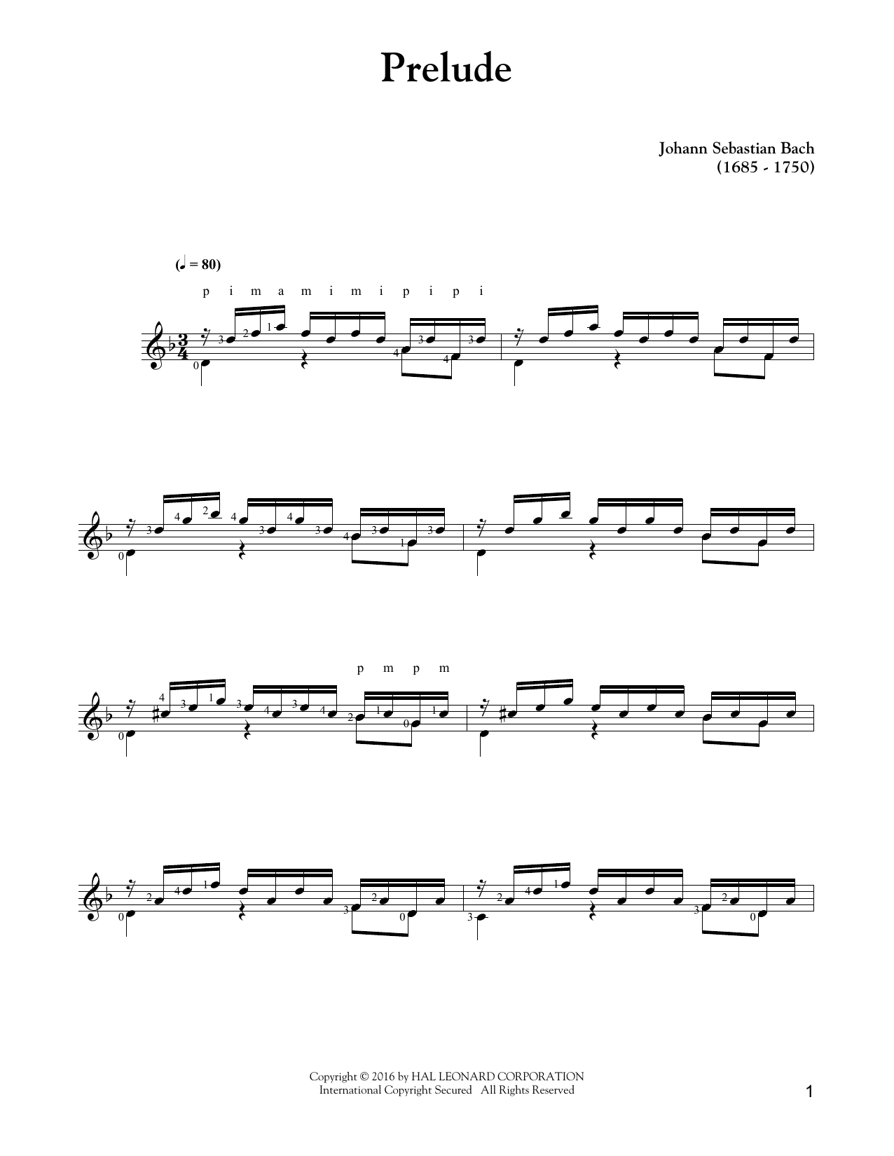 Tablature guitare Prelude de Johann Sebastian Bach - Tablature Guitare