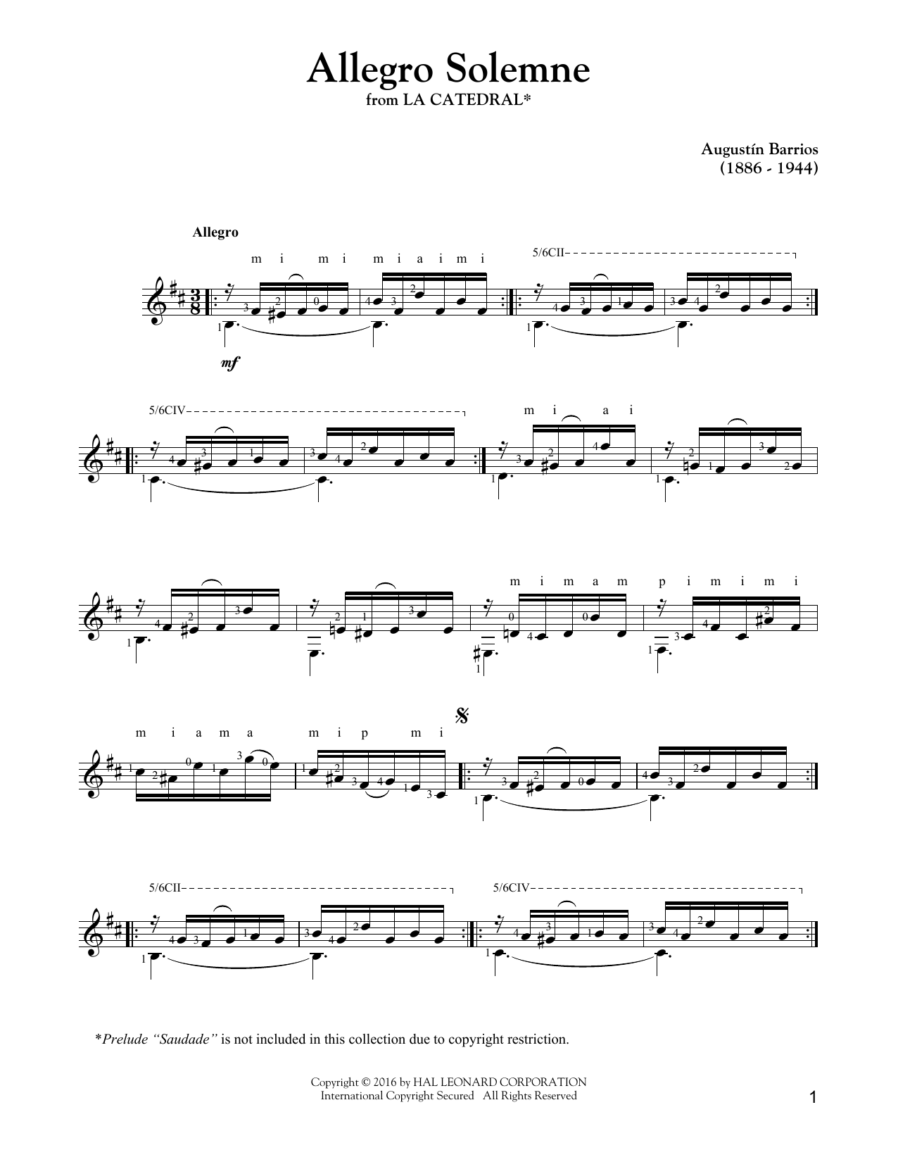 Tablature guitare Allegro Solemne de Augustin Barrios Mangore - Tablature Guitare