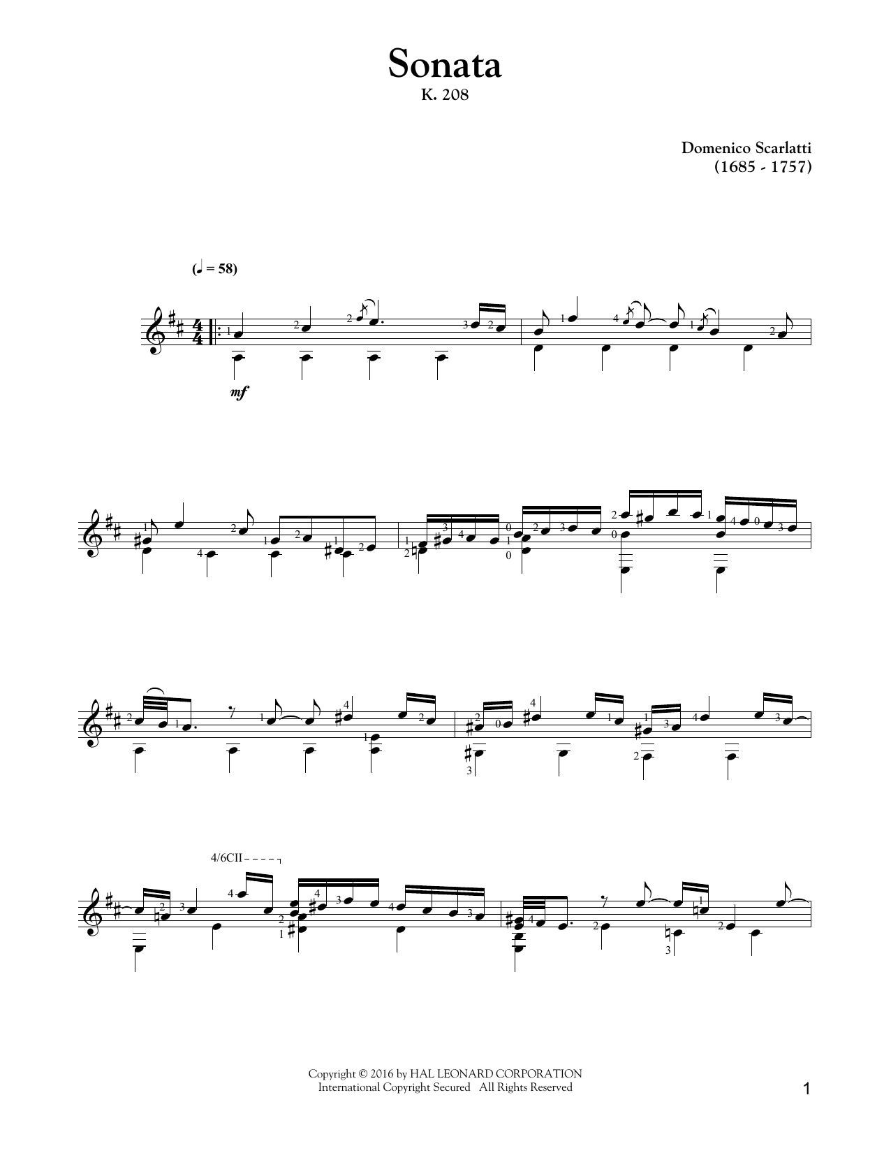 Tablature guitare Sonata In G Major, K. 208 de Domenico Scarlatti - Tablature Guitare