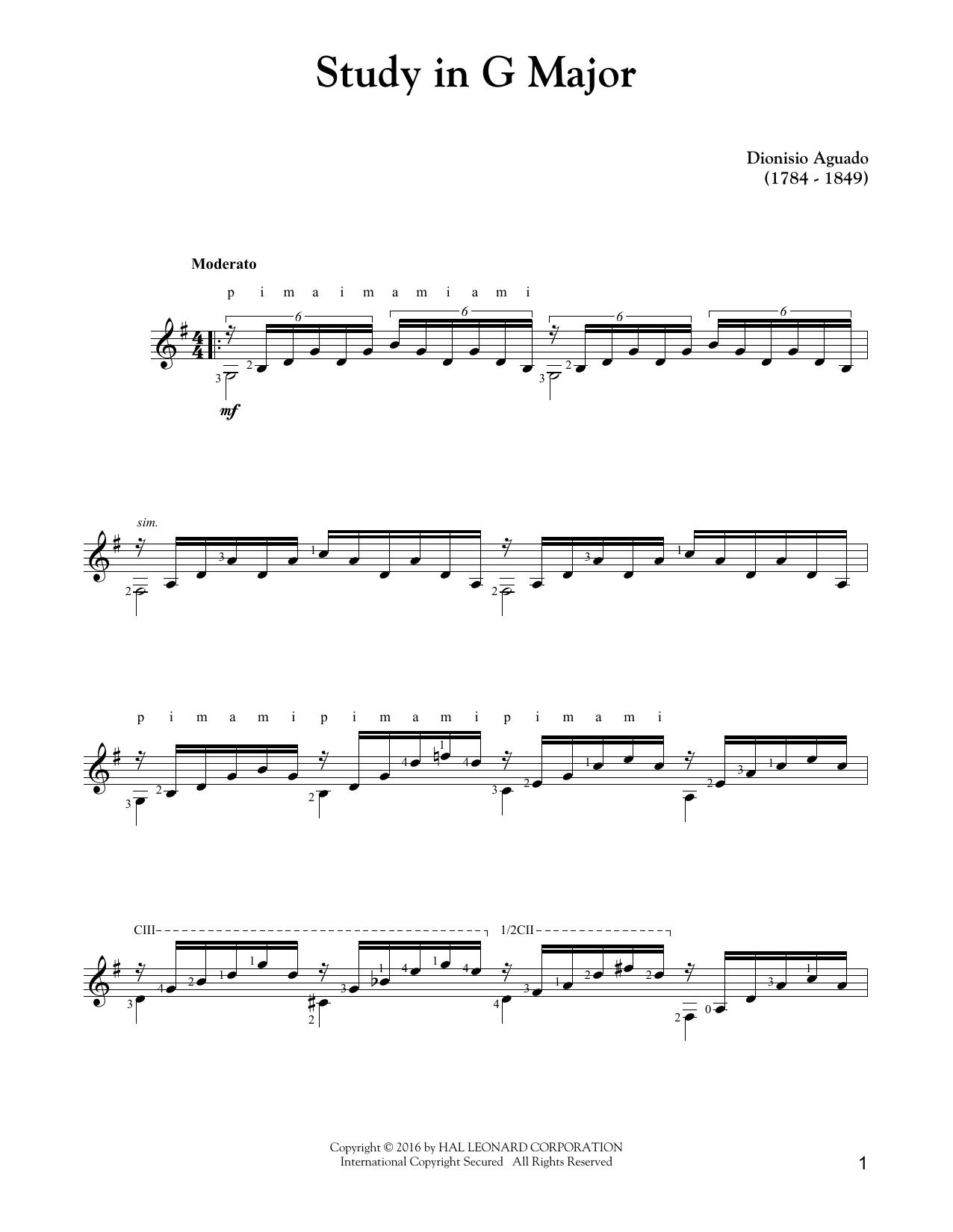 Tablature guitare Study In G Major de Dionisio Aguado - Tablature Guitare