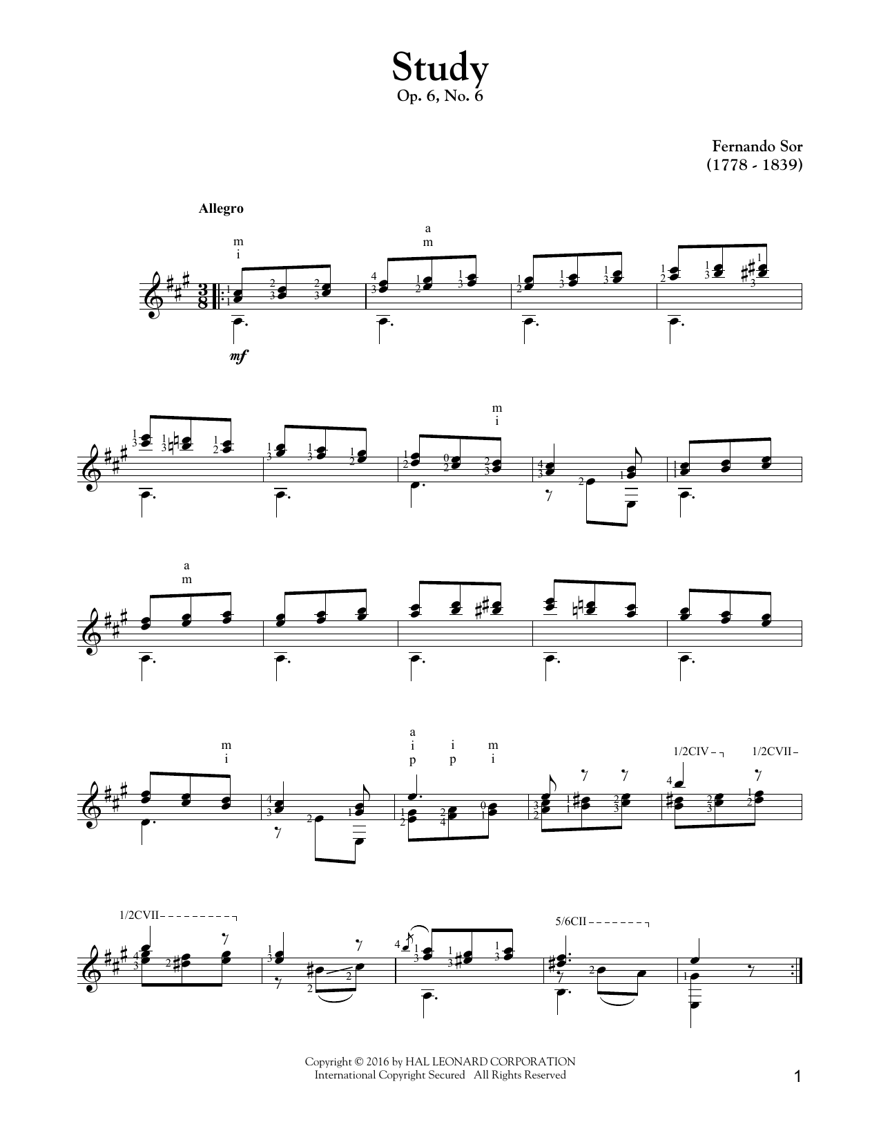 Tablature guitare Study Op. 6, No. 6 de Fernando Sor - Tablature Guitare