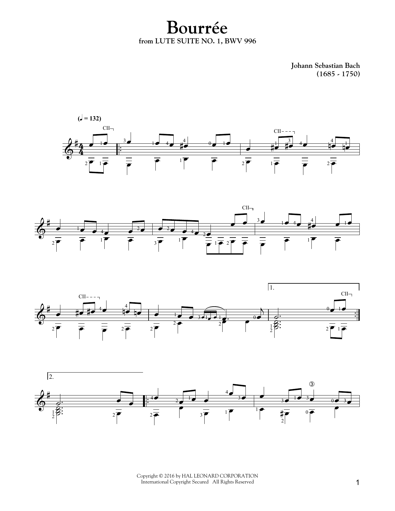 Tablature guitare Bourree de Johann Sebastian Bach - Tablature Guitare
