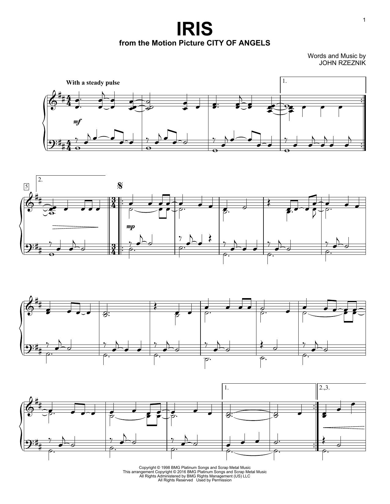 Partition piano Iris de Goo Goo Dolls - Piano Solo