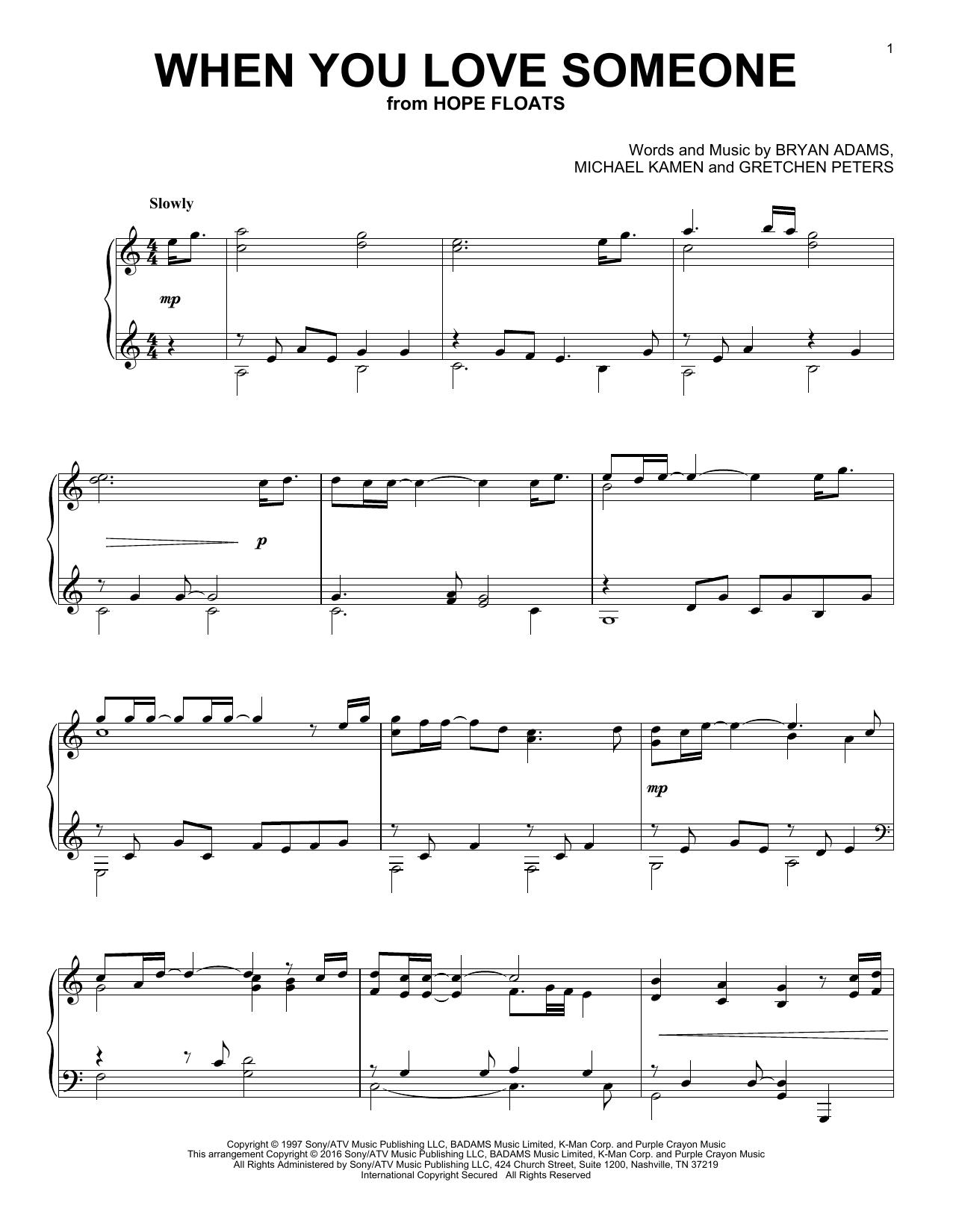 Partition piano When You Love Someone de Bryan Adams - Piano Solo