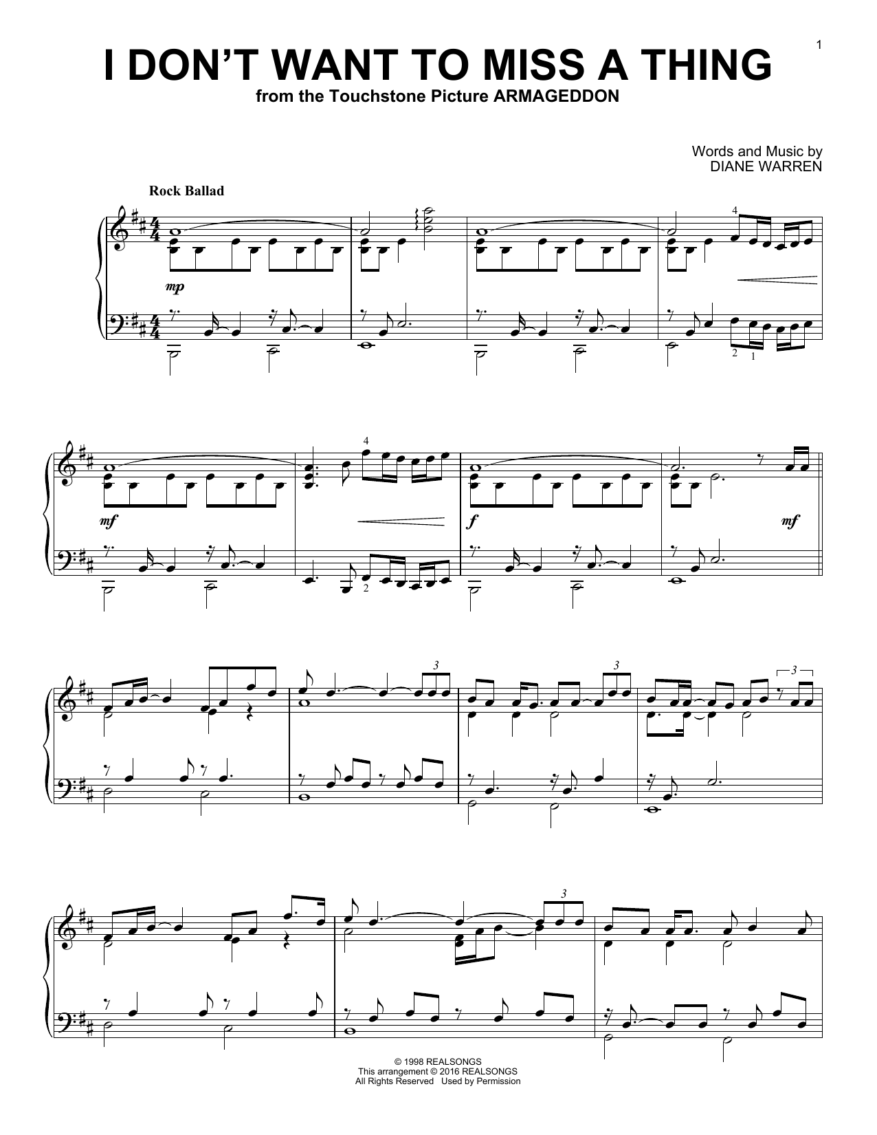 Partition piano I Don't Want To Miss A Thing de Aerosmith - Piano Solo