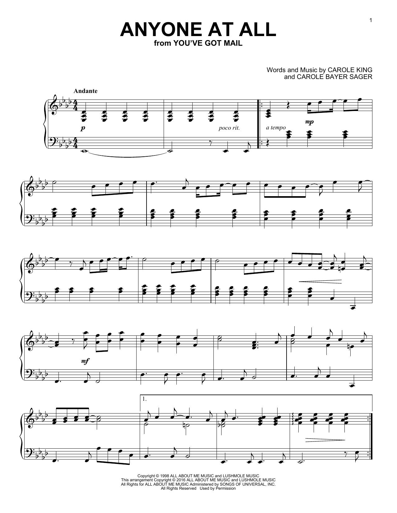 Partition piano Anyone At All de Carole King - Piano Solo
