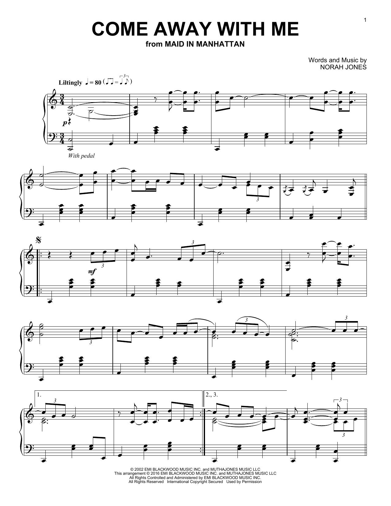 Partition piano Come Away With Me de Norah Jones - Piano Solo