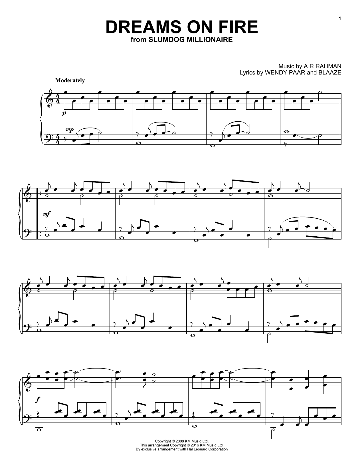 Partition piano Dreams On Fire de A. R. Rahman - Piano Solo