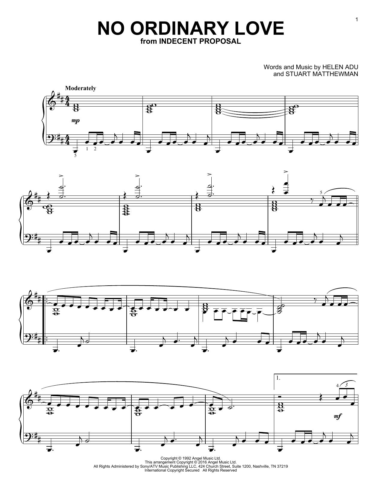 Partition piano No Ordinary Love de Sade - Piano Solo