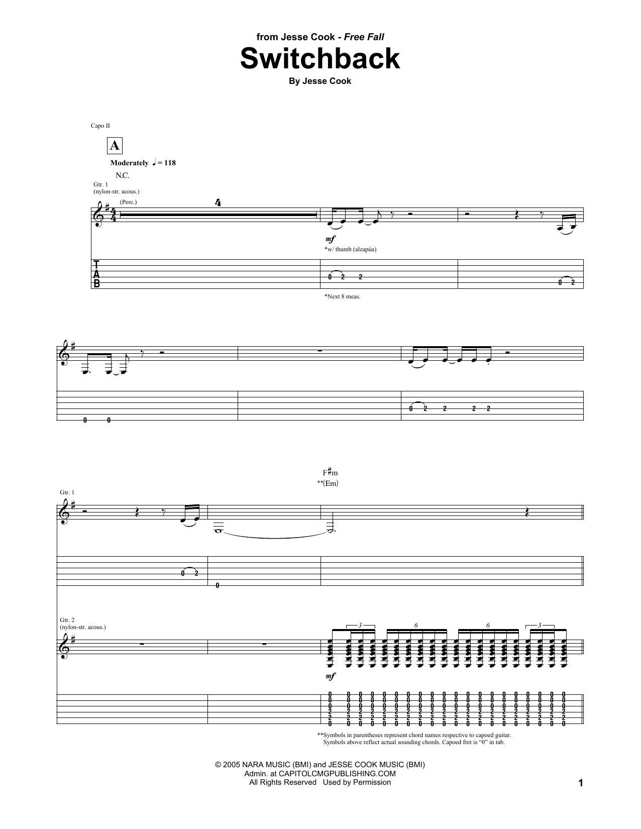 Tablature guitare Switchback de Jesse Cook - Tablature Guitare