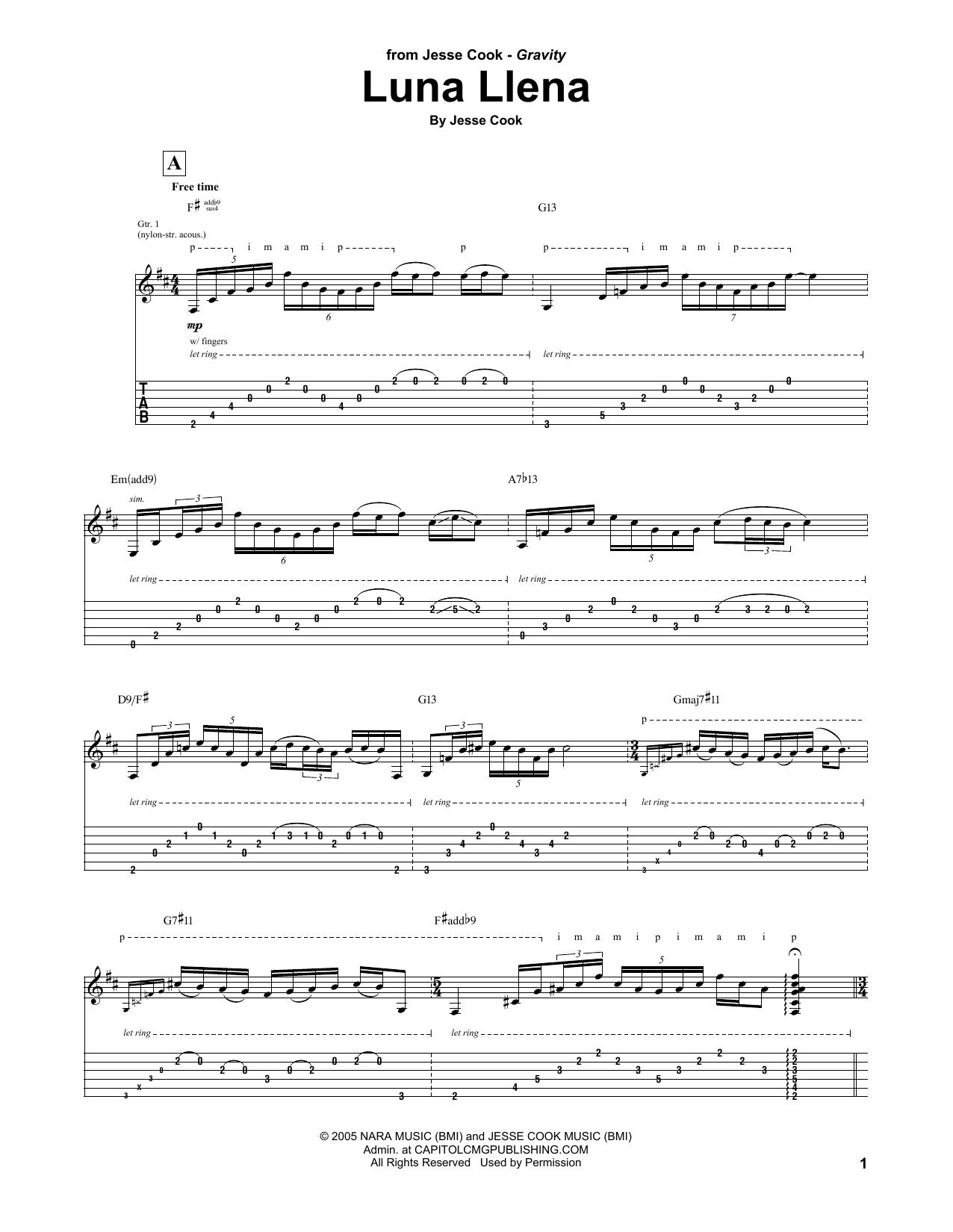 Tablature guitare Luna Llena de Jesse Cook - Tablature Guitare