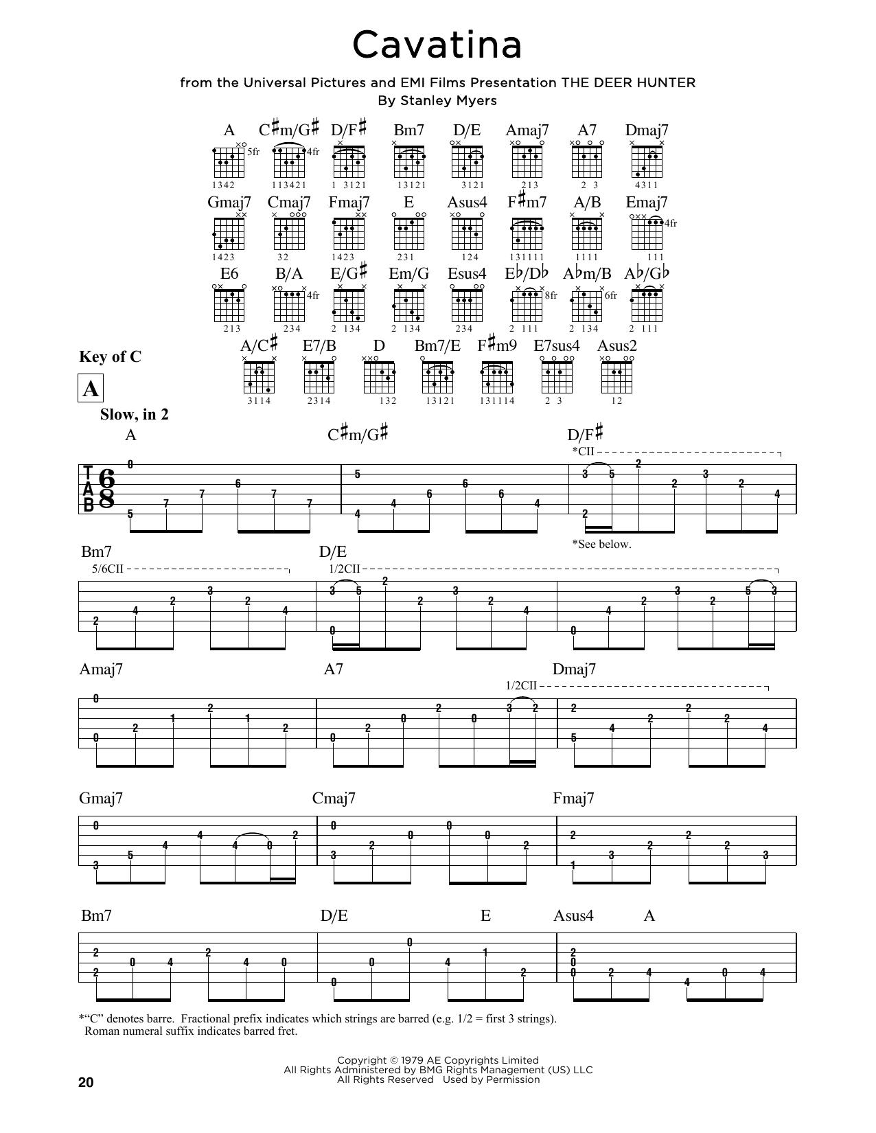 Tablature guitare Cavatina de Stanley Myers - Tablature Guitare Lead