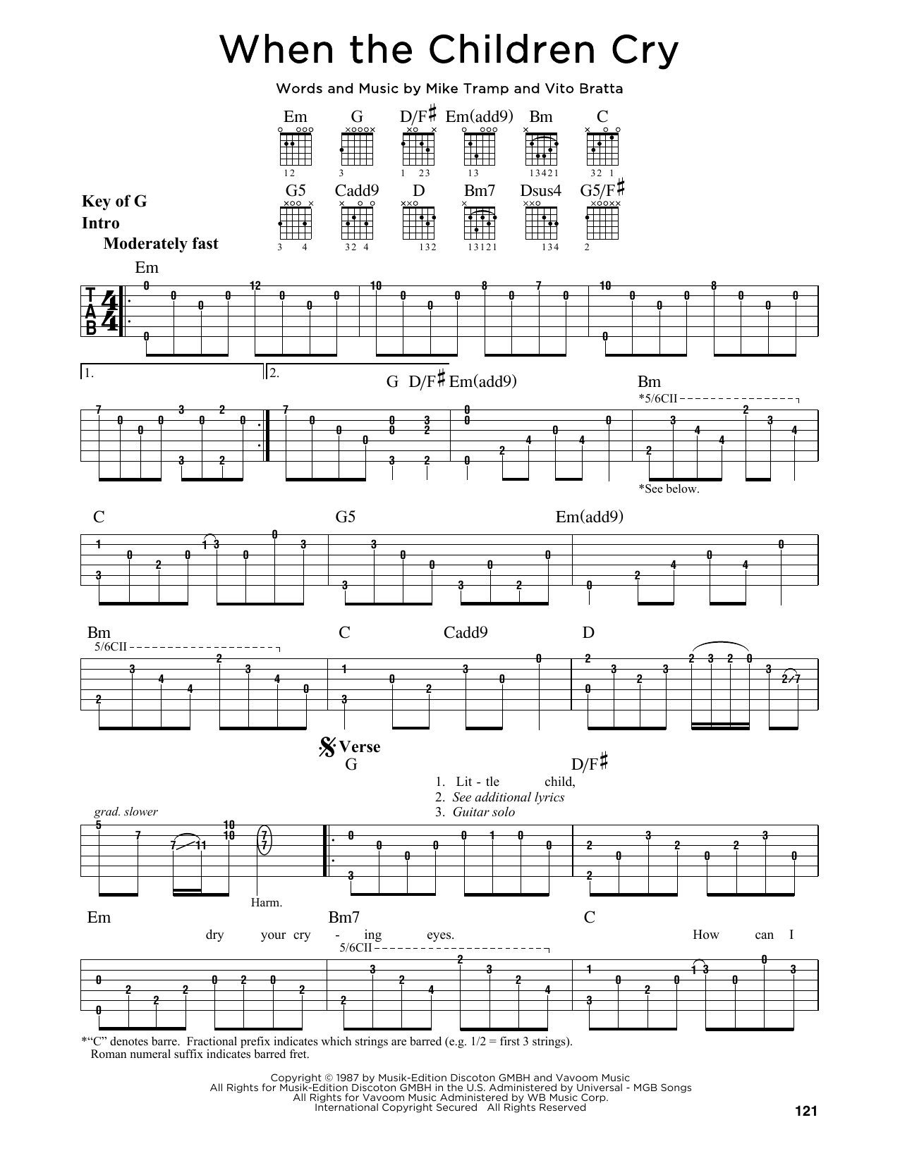 Tablature guitare When The Children Cry de White Lion - Tablature Guitare Lead
