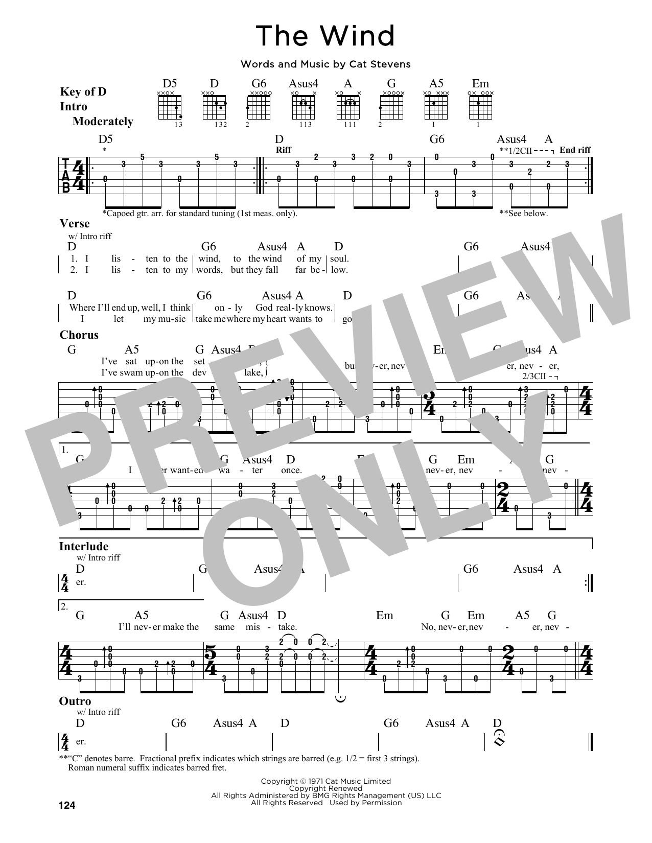 Tablature guitare The Wind de Cat Stevens - Tablature Guitare Lead