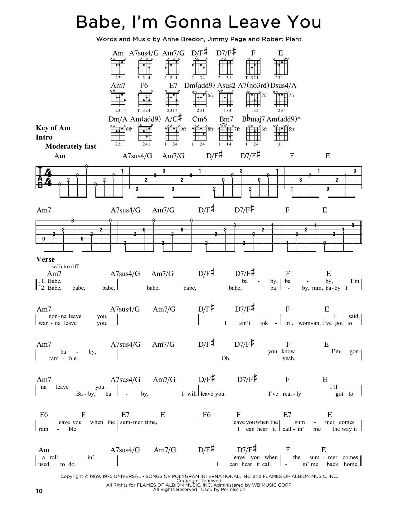 Tablature guitare Babe, I'm Gonna Leave You de Led Zeppelin - Tablature Guitare Lead