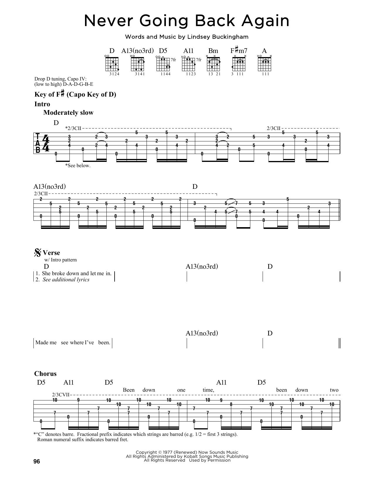 Partition autre Never Going Back Again de Fleetwood Mac - Tablature Guitare Lead